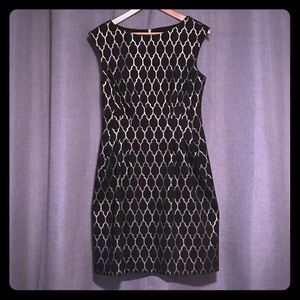Vince Camuto Metallic Lattice Fit and Flare Dress